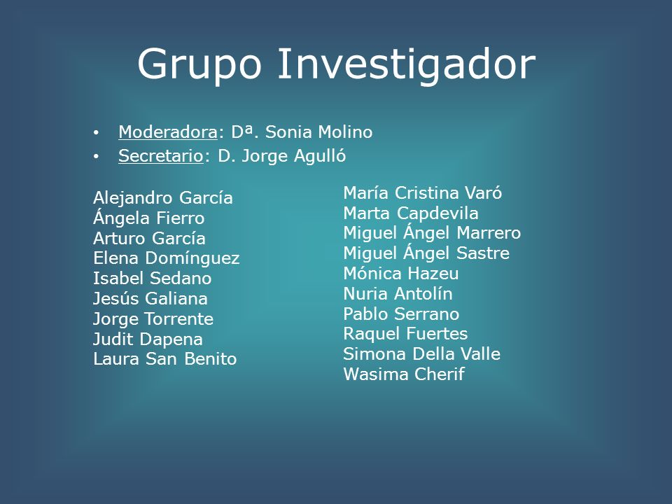 Grupo Investigador Moderadora: Dª. Sonia Molino