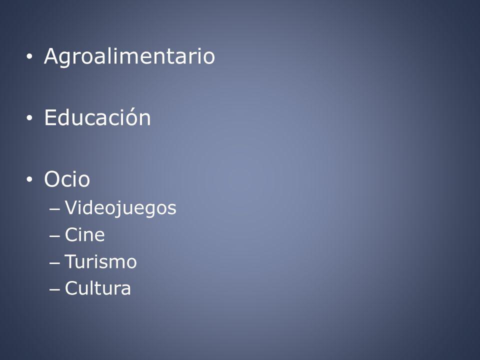 Agroalimentario Educación Ocio Videojuegos Cine Turismo Cultura