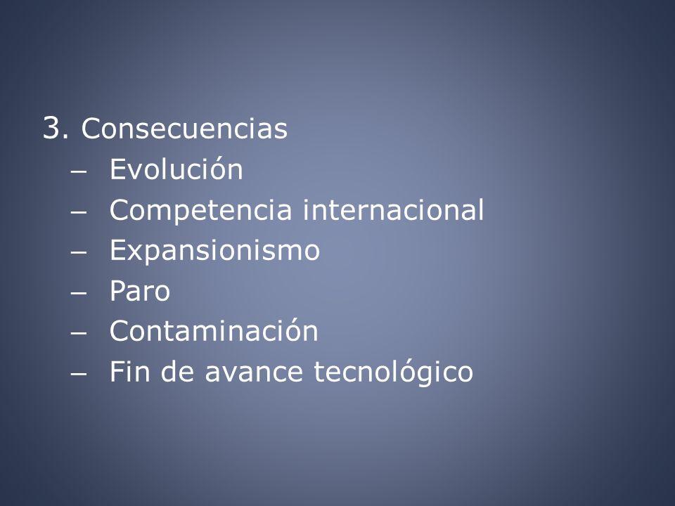 3. Consecuencias Evolución Competencia internacional Expansionismo