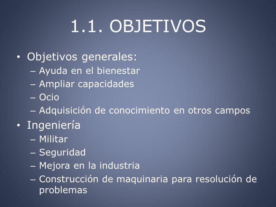 1.1. OBJETIVOS Objetivos generales: Ingeniería Ayuda en el bienestar