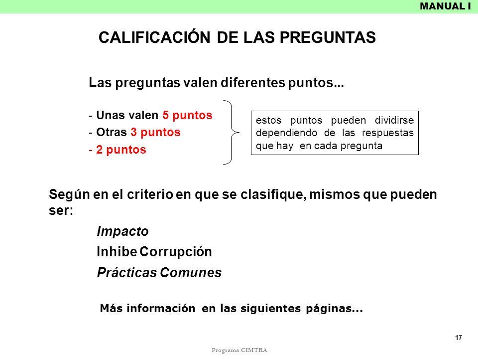 CALIFICACIÓN DE LAS PREGUNTAS