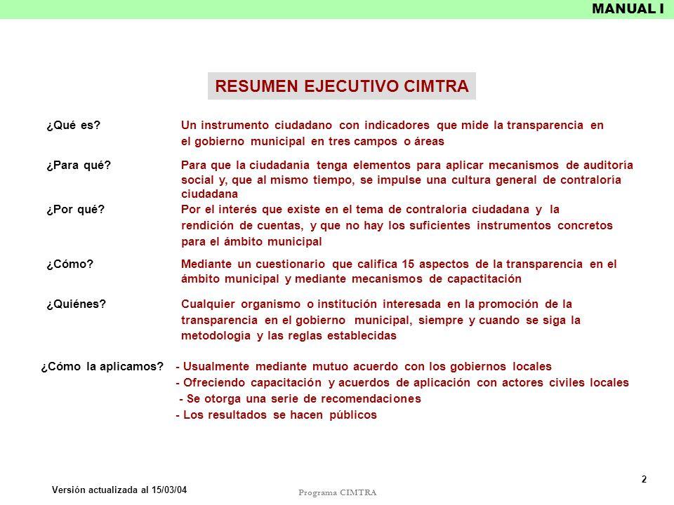 RESUMEN EJECUTIVO CIMTRA