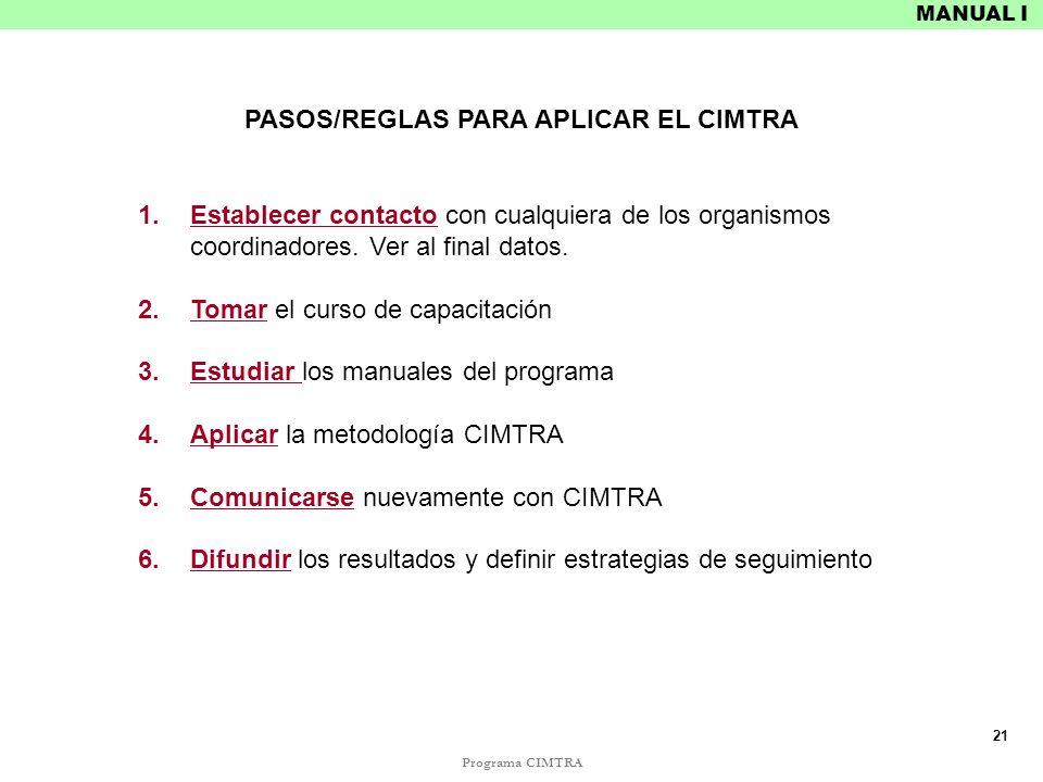 PASOS/REGLAS PARA APLICAR EL CIMTRA