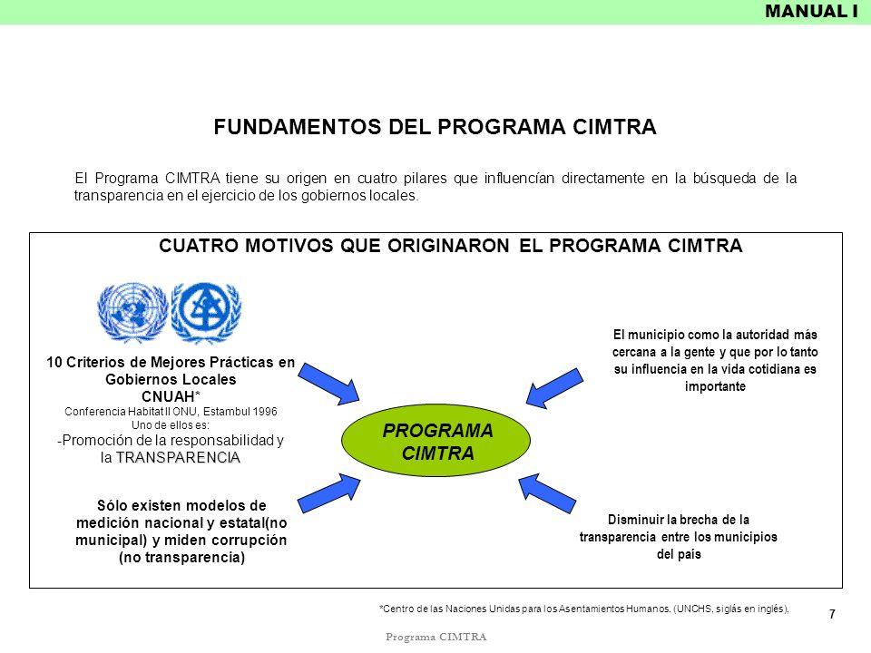 FUNDAMENTOS DEL PROGRAMA CIMTRA