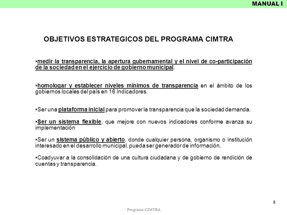 OBJETIVOS ESTRATEGICOS DEL PROGRAMA CIMTRA