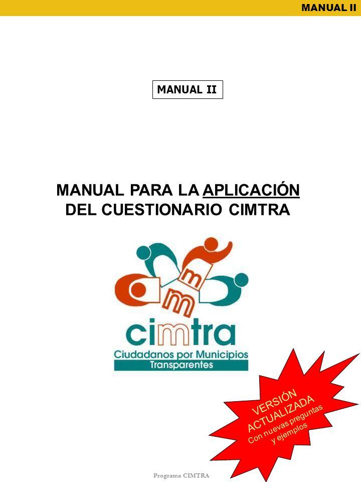 MANUAL PARA LA APLICACIÓN DEL CUESTIONARIO CIMTRA