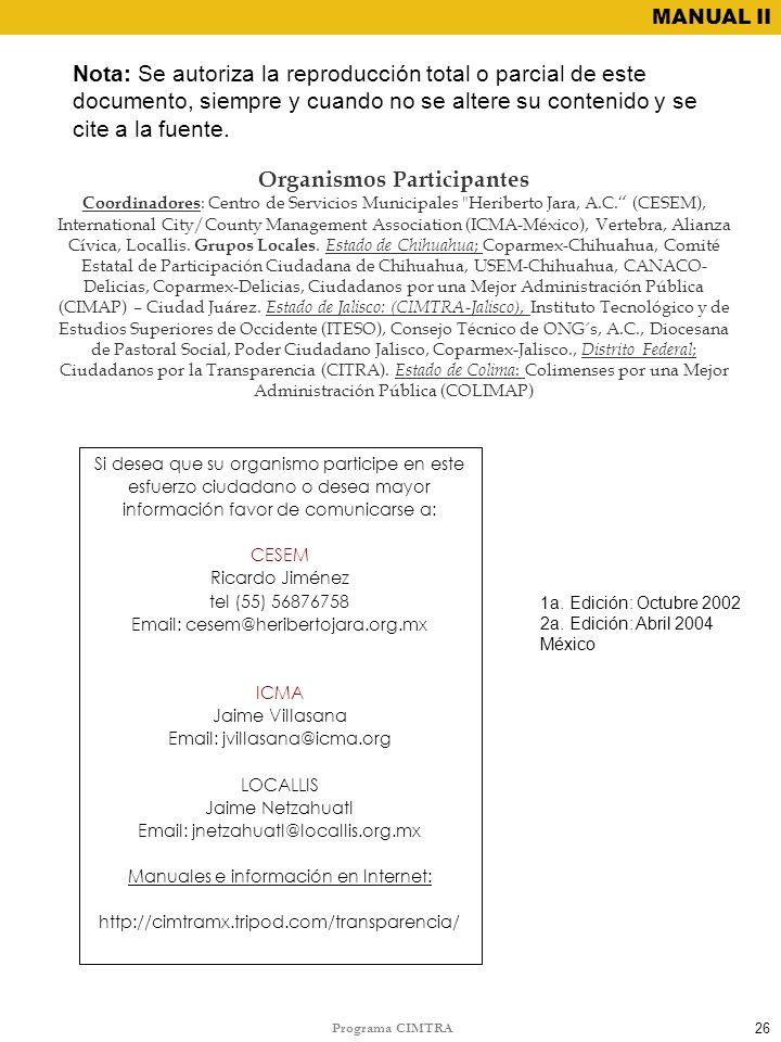 Organismos Participantes