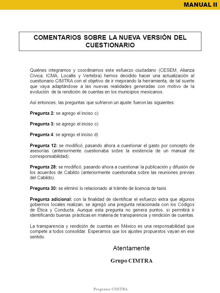 COMENTARIOS SOBRE LA NUEVA VERSIÓN DEL CUESTIONARIO