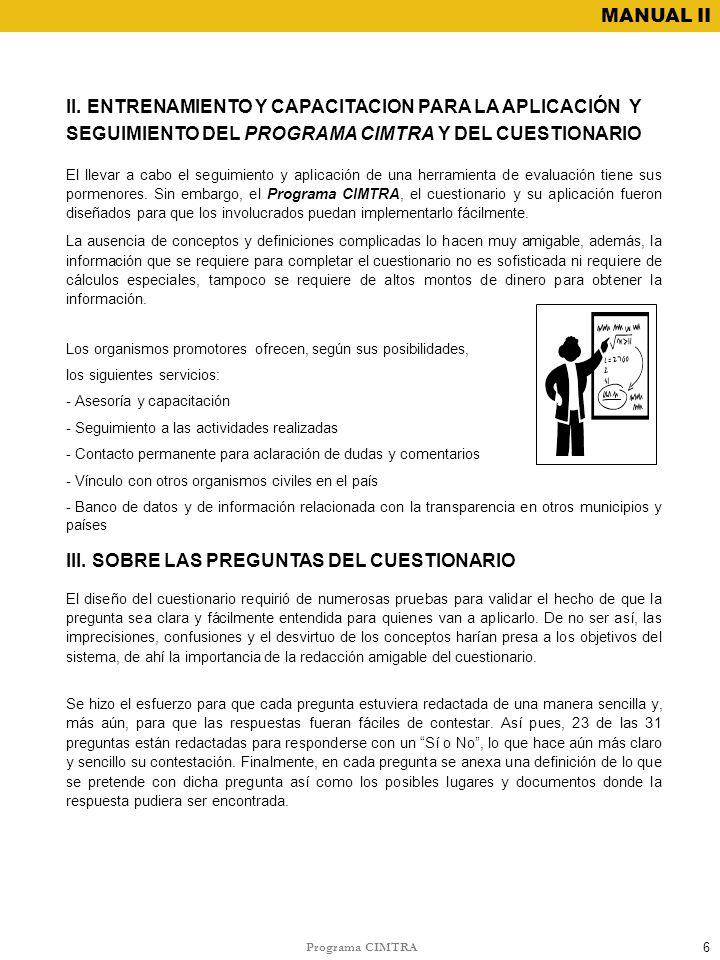 III. SOBRE LAS PREGUNTAS DEL CUESTIONARIO