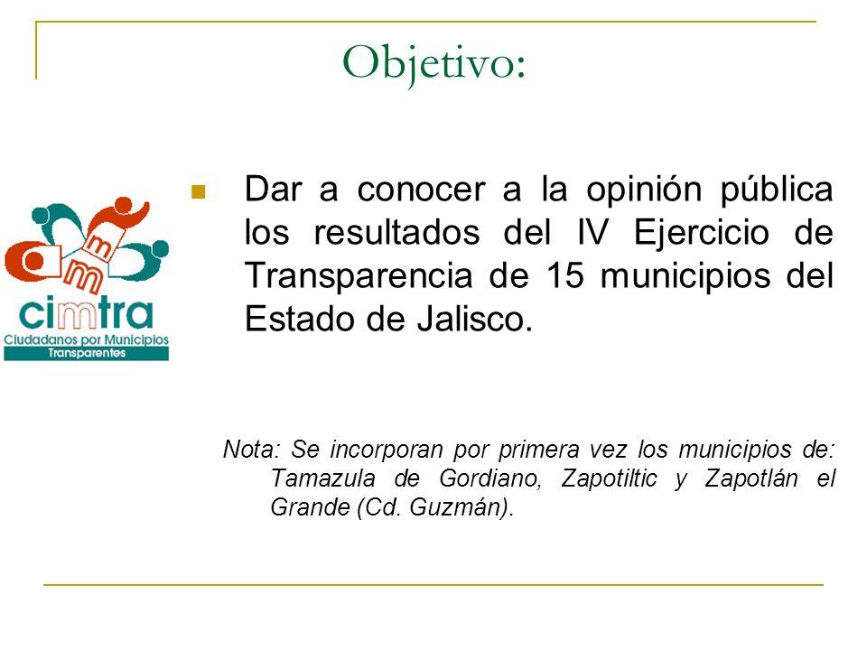 Objetivo:Dar a conocer a la opinión pública los resultados del IV Ejercicio de Transparencia de 15 municipios del Estado de Jalisco.