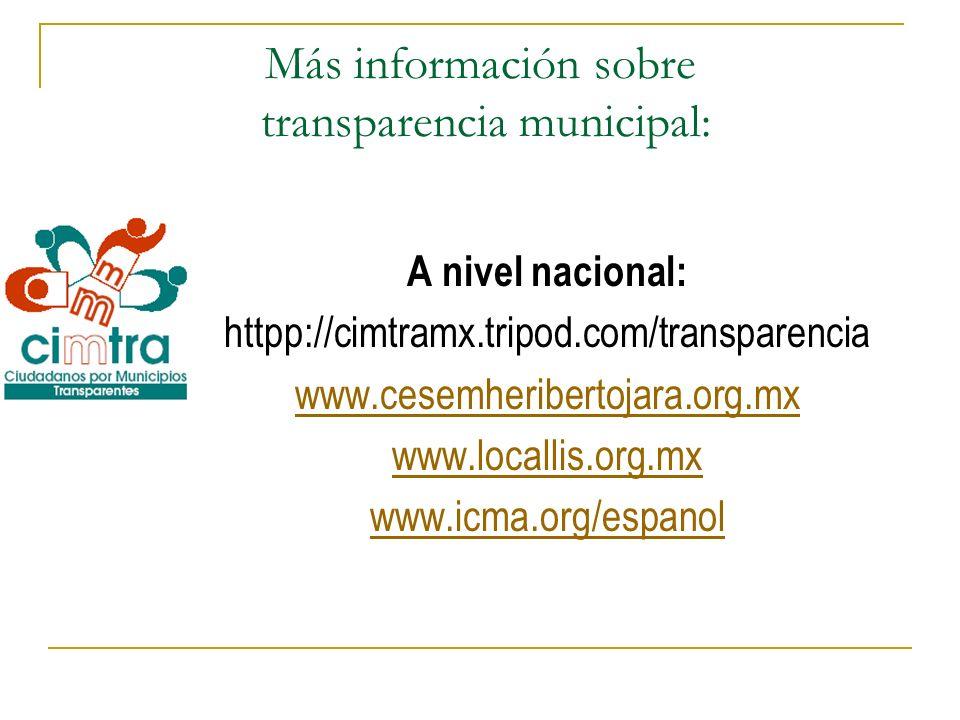 Más información sobre transparencia municipal: