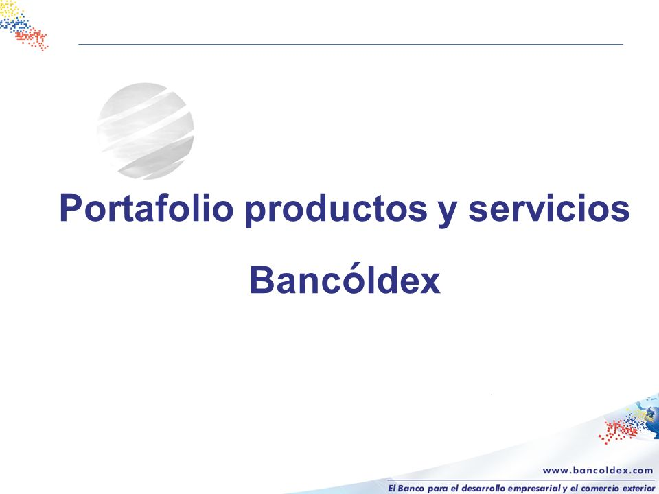 Portafolio productos y servicios Bancóldex