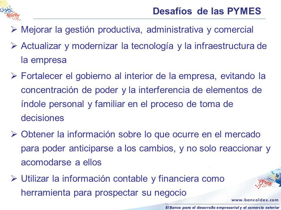 Desafíos de las PYMES Mejorar la gestión productiva, administrativa y comercial.
