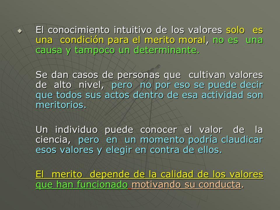 El conocimiento intuitivo de los valores solo es una condición para el merito moral, no es una causa y tampoco un determinante.