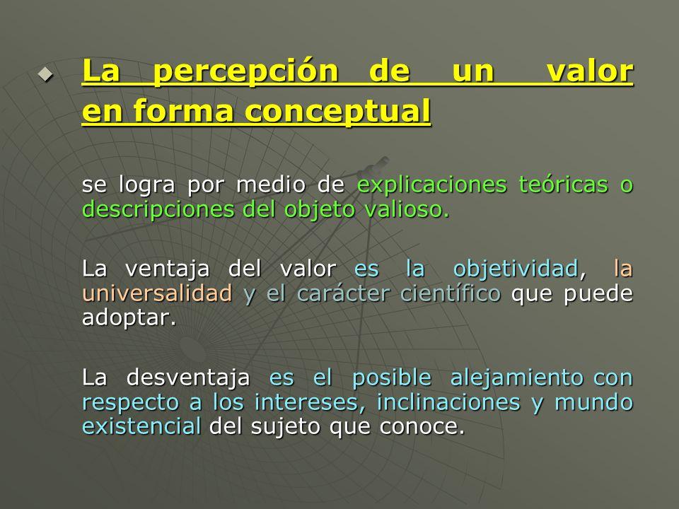 La percepción de un valor en forma conceptual
