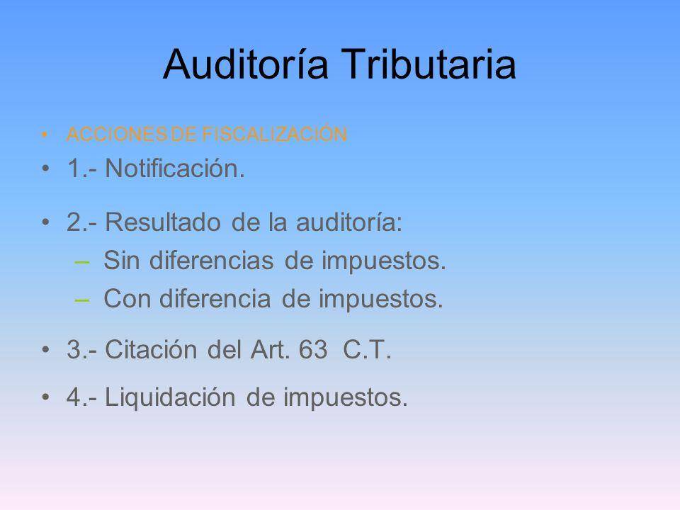 Auditoría Tributaria 1.- Notificación. 2.- Resultado de la auditoría: