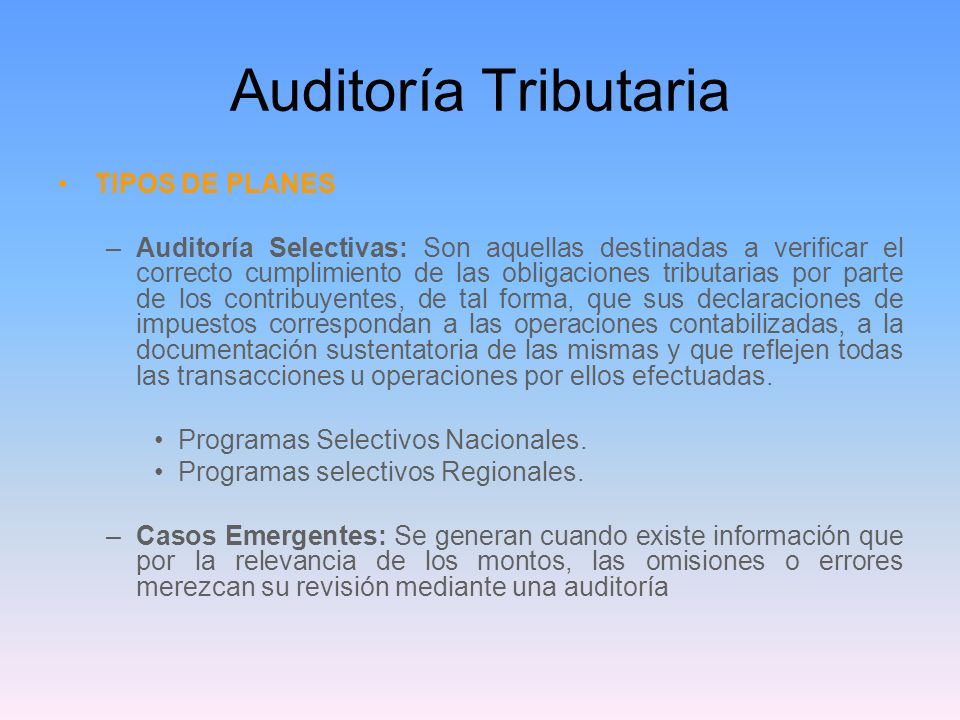 Auditoría Tributaria TIPOS DE PLANES