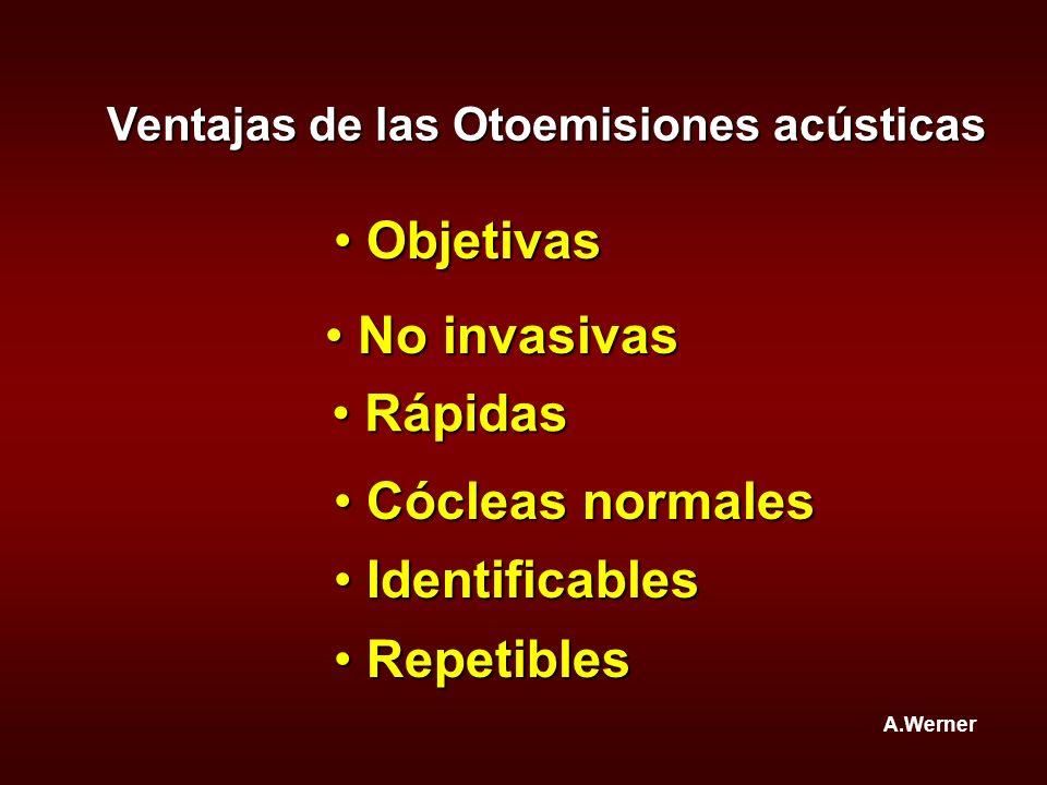 Objetivas No invasivas Rápidas Cócleas normales Identificables