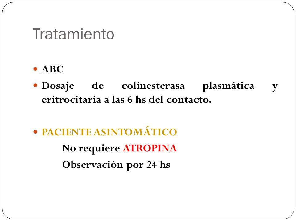 Tratamiento ABC. Dosaje de colinesterasa plasmática y eritrocitaria a las 6 hs del contacto. PACIENTE ASINTOMÁTICO.