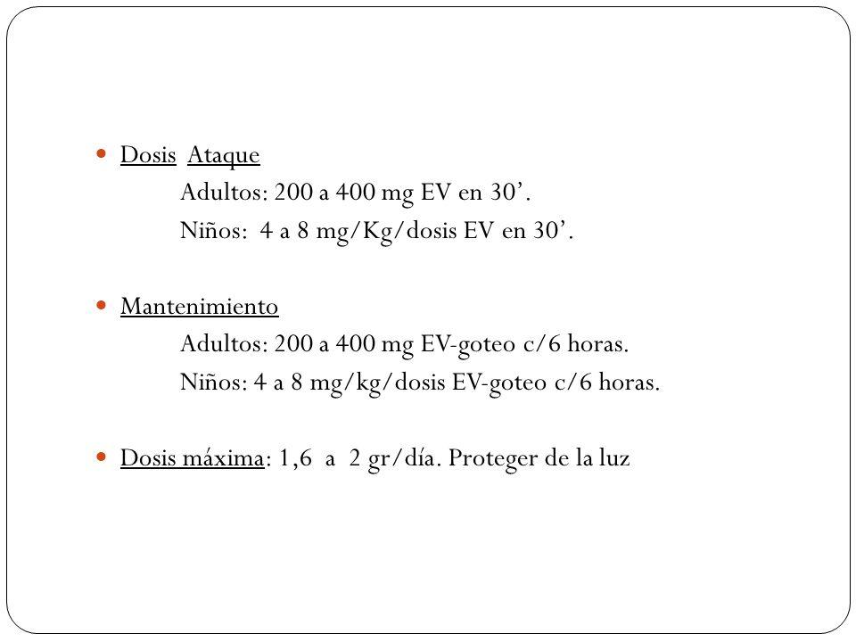 Dosis Ataque Adultos: 200 a 400 mg EV en 30'. Niños: 4 a 8 mg/Kg/dosis EV en 30'. Mantenimiento.