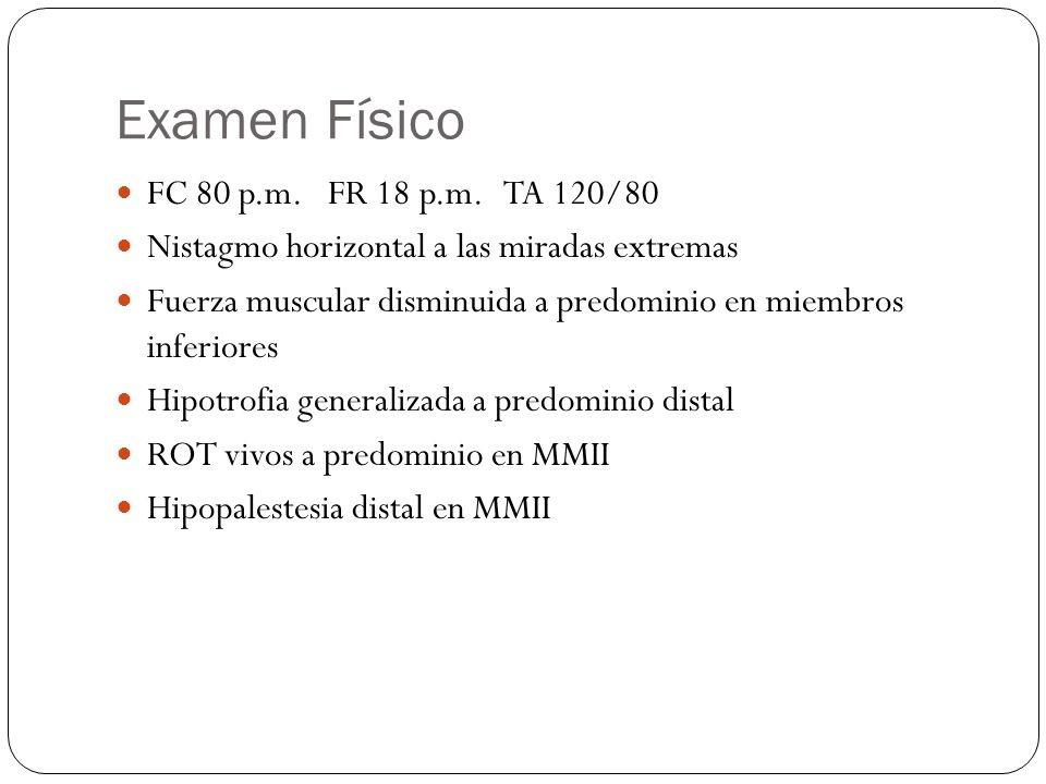 Examen Físico FC 80 p.m. FR 18 p.m. TA 120/80