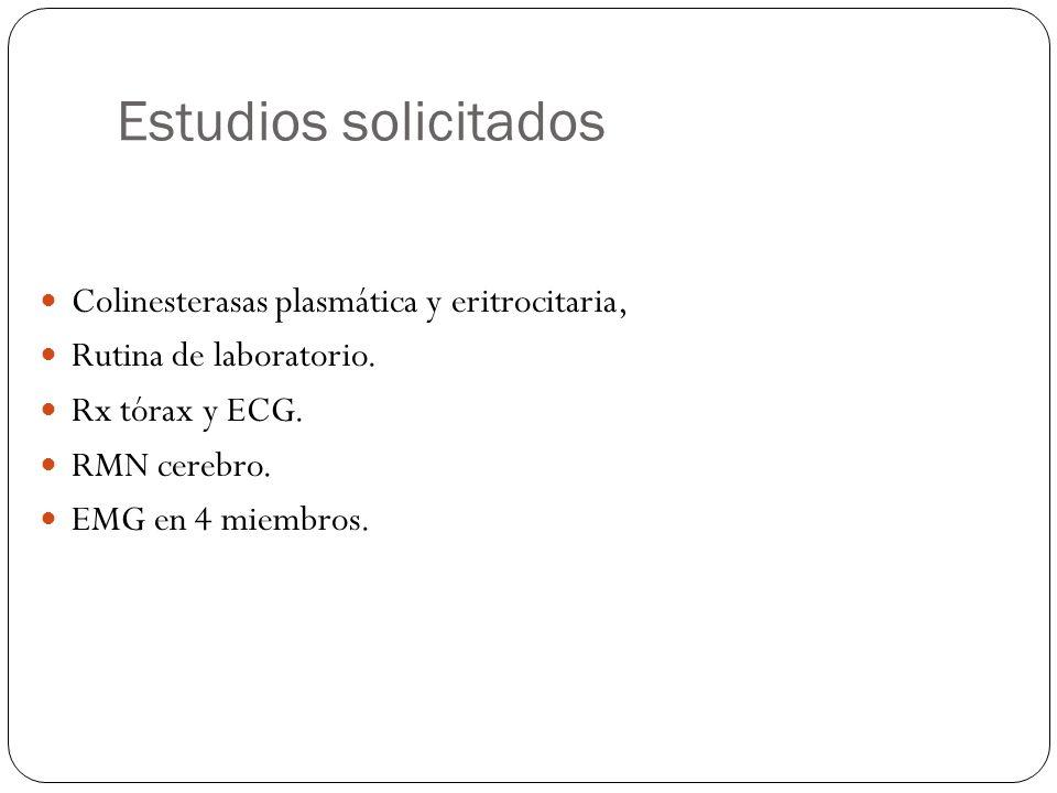 Estudios solicitados Colinesterasas plasmática y eritrocitaria,