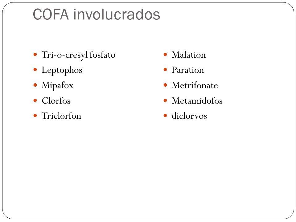 COFA involucrados Tri-o-cresyl fosfato Leptophos Mipafox Clorfos