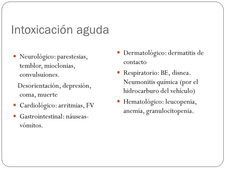 Intoxicación aguda Dermatológico: dermatitis de contacto