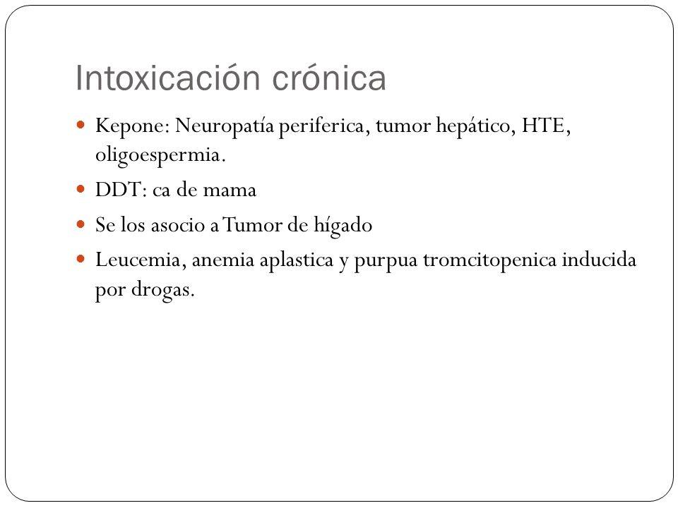 Intoxicación crónica Kepone: Neuropatía periferica, tumor hepático, HTE, oligoespermia. DDT: ca de mama.