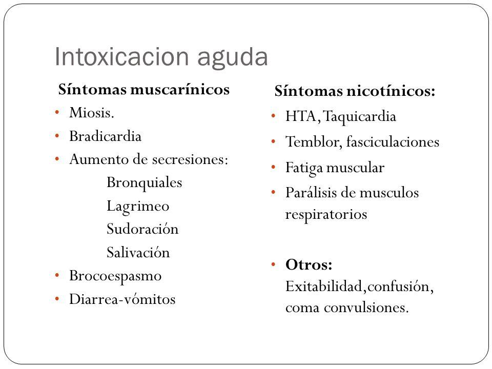 Intoxicacion aguda Síntomas muscarínicos Miosis. Bradicardia