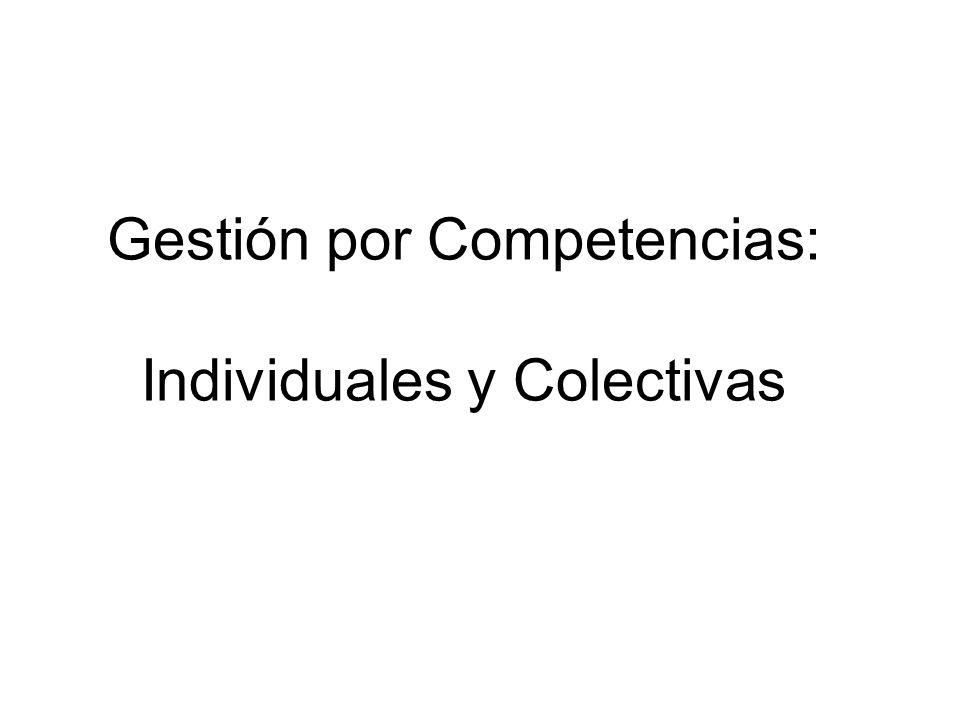 Gestión por Competencias: Individuales y Colectivas
