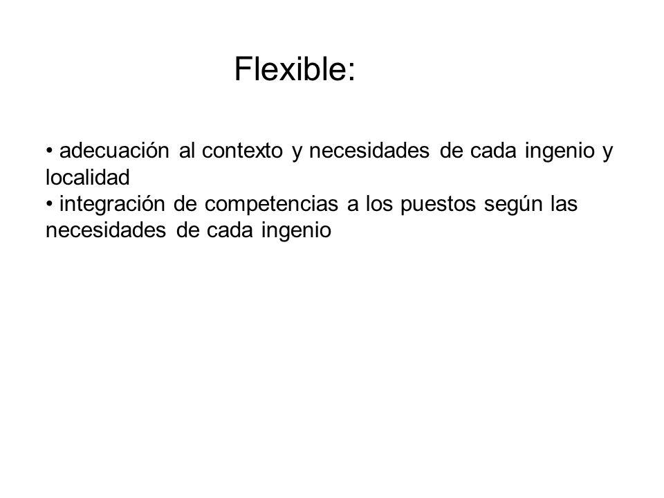 Flexible: adecuación al contexto y necesidades de cada ingenio y localidad.