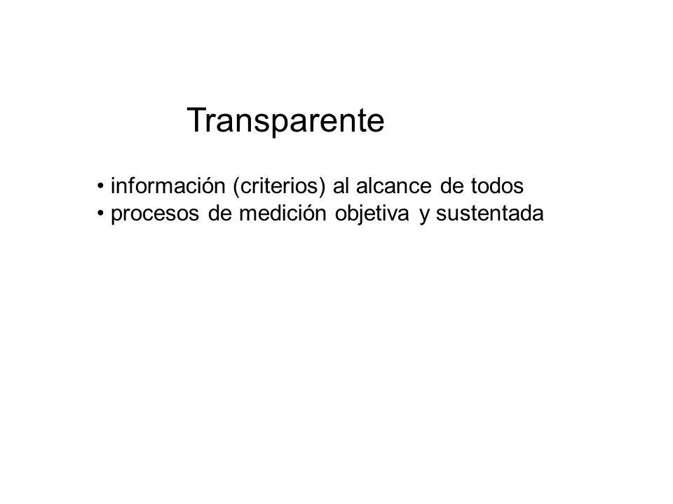 Transparente información (criterios) al alcance de todos