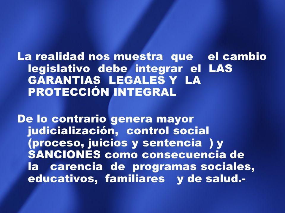 La realidad nos muestra que el cambio legislativo debe integrar el LAS GARANTIAS LEGALES Y LA PROTECCIÓN INTEGRAL