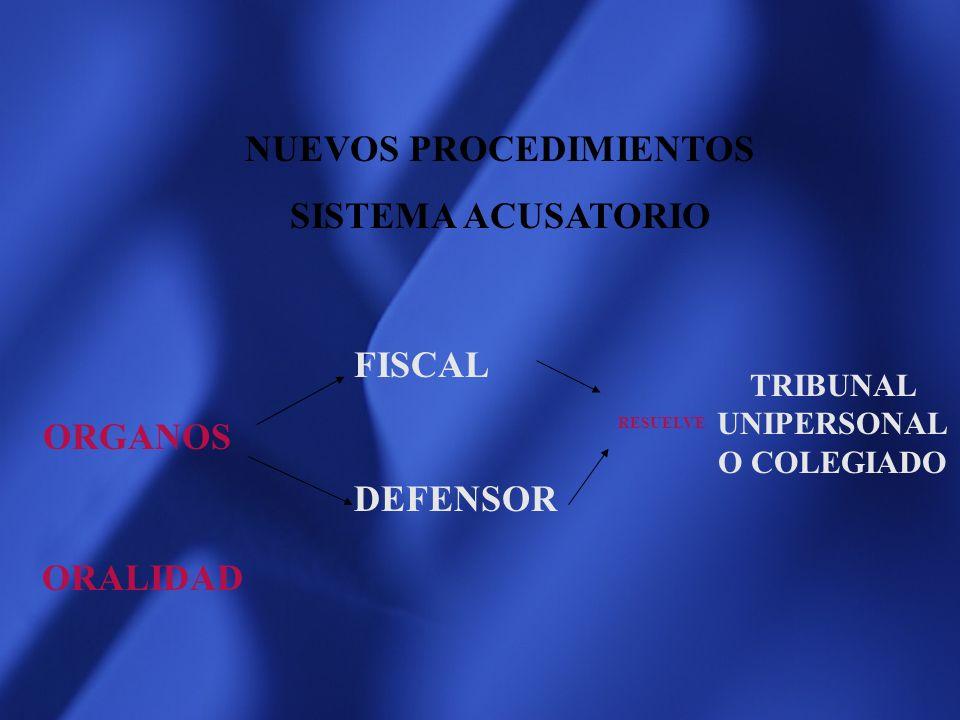 NUEVOS PROCEDIMIENTOS TRIBUNAL UNIPERSONALO COLEGIADO