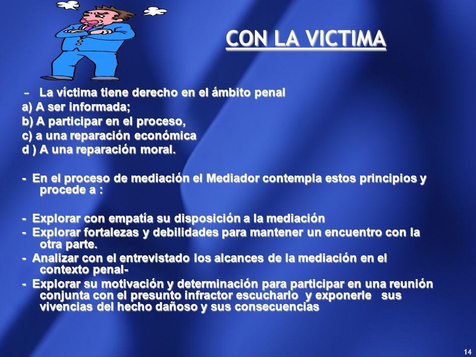 CON LA VICTIMA - La víctima tiene derecho en el ámbito penal