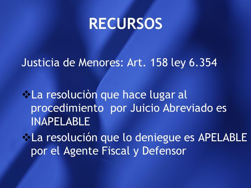 RECURSOS Justicia de Menores: Art. 158 ley 6.354