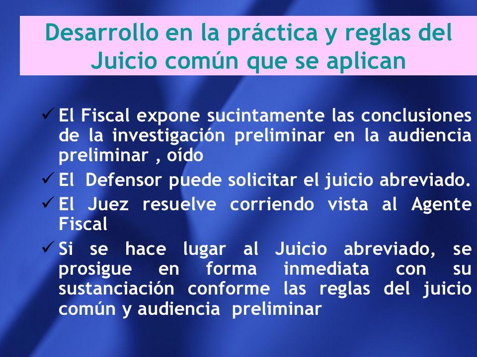Desarrollo en la práctica y reglas del Juicio común que se aplican