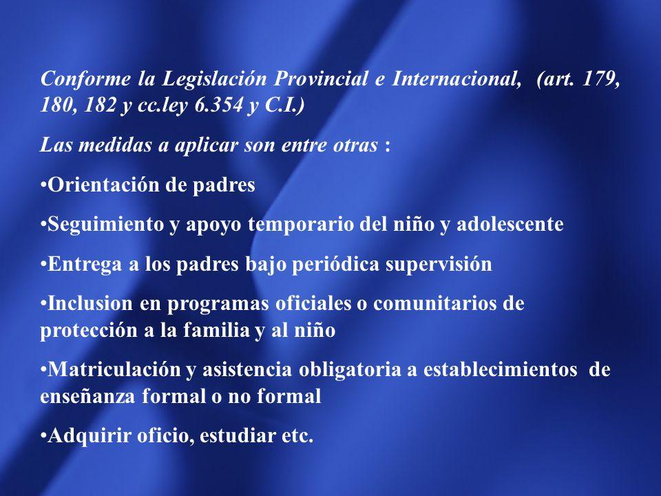 Conforme la Legislación Provincial e Internacional, (art