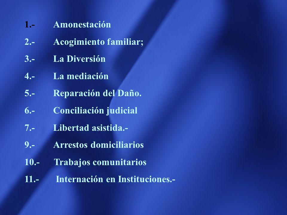 1.- Amonestación 2.- Acogimiento familiar; 3.- La Diversión. 4.- La mediación. 5.- Reparación del Daño.