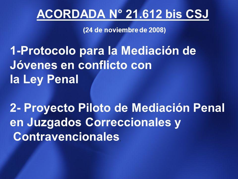 ACORDADA N° 21.612 bis CSJ(24 de noviembre de 2008) 1-Protocolo para la Mediación de Jóvenes en conflicto con.