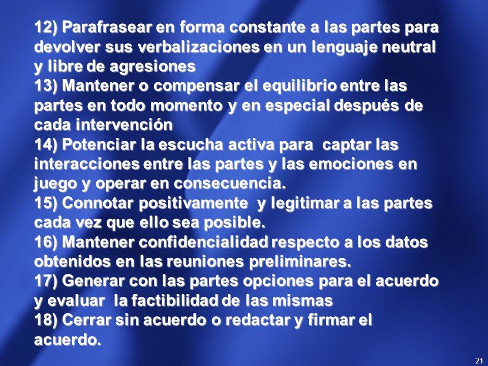 12) Parafrasear en forma constante a las partes para devolver sus verbalizaciones en un lenguaje neutral y libre de agresiones