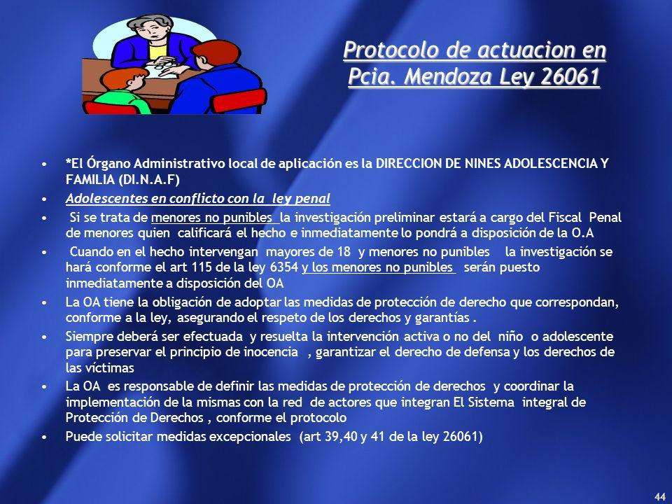 Protocolo de actuacion en Pcia. Mendoza Ley 26061
