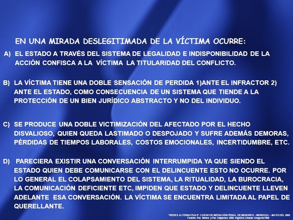 EN UNA MIRADA DESLEGITIMADA DE LA VÍCTIMA OCURRE: