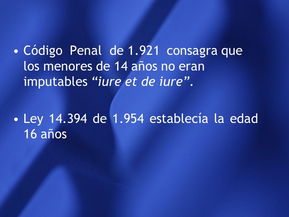 Código Penal de 1.921 consagra que los menores de 14 años no eran imputables iure et de iure .