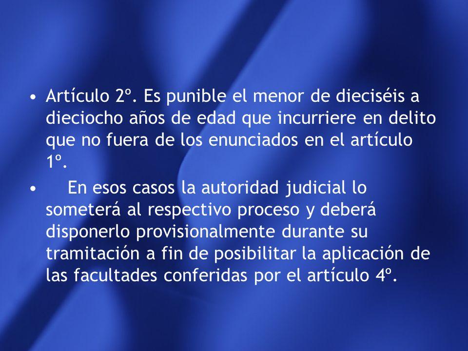 Artículo 2º. Es punible el menor de dieciséis a dieciocho años de edad que incurriere en delito que no fuera de los enunciados en el artículo 1º.
