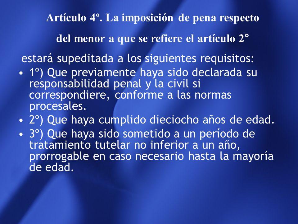 Artículo 4º. La imposición de pena respecto