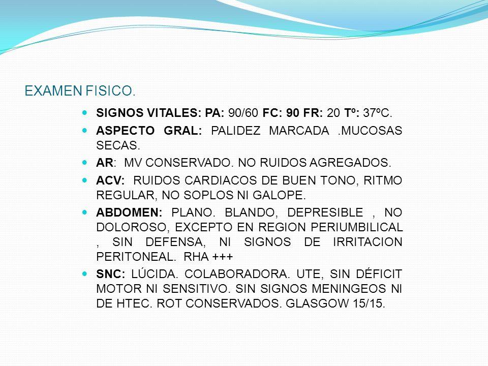 EXAMEN FISICO. SIGNOS VITALES: PA: 90/60 FC: 90 FR: 20 Tº: 37ºC.