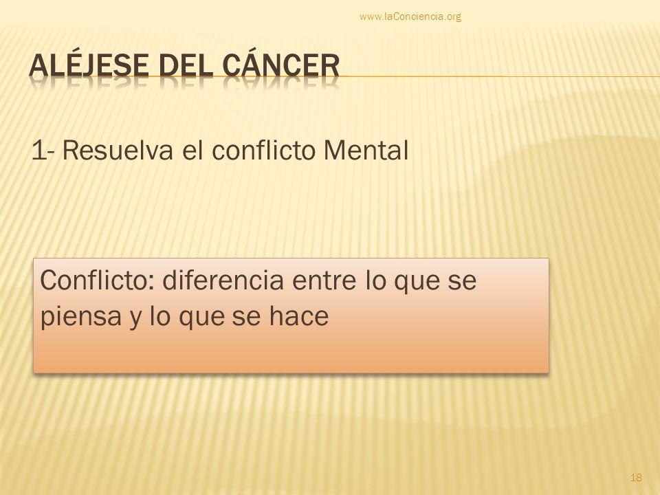 Aléjese del cáncer 1- Resuelva el conflicto Mental