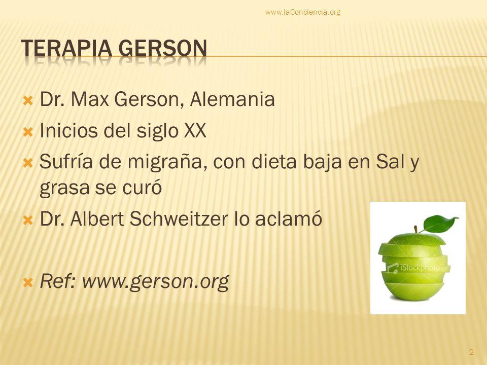 Terapia Gerson Dr. Max Gerson, Alemania Inicios del siglo XX